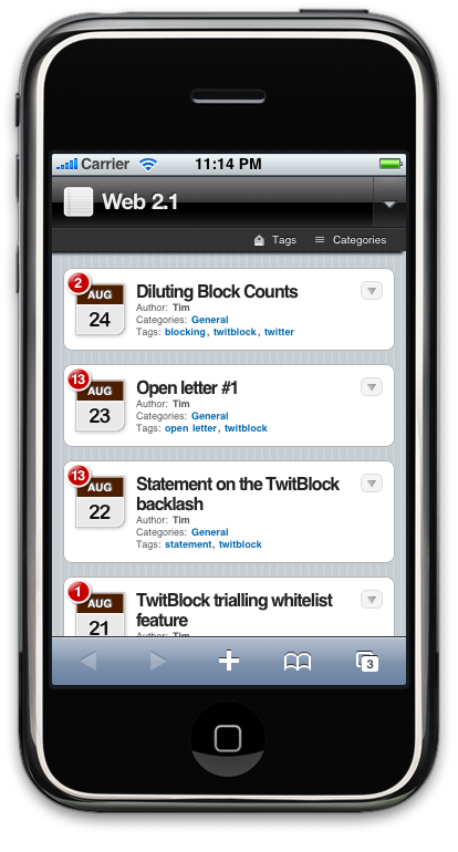 WPTouch iPhone screen grab